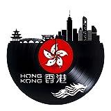Hong Kong Travel Handmade Vinyl Record Wall Clock - Get Unique Living Room Wall Decor - Gift Ideas for Friends, Teens Cities Skylines Unique Modern Art