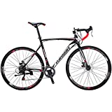 Eurobike Bikes XC550 21 Speed Road Bike 54 cm Frame 700C Regular Spoke Wheels Road Bicycle Dual Disc Brake Bicycles Black White L