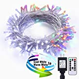 Lyhope LED Christmas Lights, 9 Modes 75ft 200 LED Cool White-Multi Color Changing Fairy String Lights, 29V UL Certified Decorative Lights with Timer & Remote for Outdoor, Indoor, Wedding, Party, Xmas