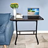 Akway Mobile Laptop Desk Cart 31.5 x 15.7 inches Height Adjustable Rolling Cart Laptop Stands Bed Table for Eating and Laptops, Black