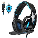 SADES 7.1 Channel Surround Stereo Wired USB PC Gaming Headset SA902 Over Ear Headphones with Mic Revolution Volume Control Noise Canceling LED Light for PC Gamers
