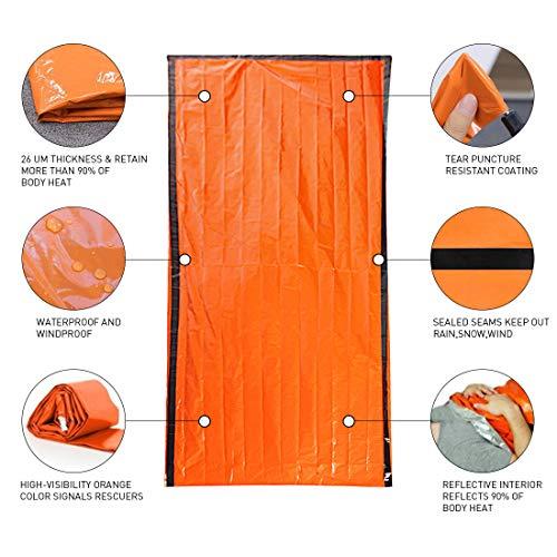Saco de Emergencia Bivvy Albergue Saco de Dormir Supervivencia Impermeable Manta Hoja de Refugio Aislamiento Térmico Exterior Brillante Naranja Fácil de Localizar Portátil, Pack x 2 uds 1