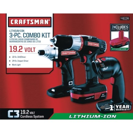 Craftsman 19.2 Li-Ion 3-Pc Combo Kit with Drill/Driver, Impact Driver, Work Light, Charger & 2 Batteries