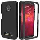 AMENQ Moto Z3 Play Case, Moto Z3 Case, 3 in 1 Hybrid Heavy Duty Shockproof with Rugged Hard PC and TPU Bumper Protective Armor Phone Cover for Motorola Moto Z Play (3nd Gen) 2018 (Black)