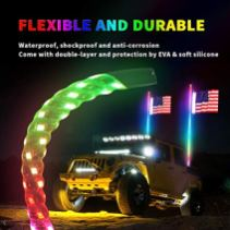AUDEXEN-Spiral-RGB-LED-Whip-Lights-5FT-with-USA-Flag-RF-Wireless-Remote-Controller-Compatible-with-Jeep-UTV-ATV-RZR-Polaris-Dune-Buggy-Sand-Rails-Go-Kart-Truck-4X4-Off-Road-2-PCS