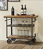 Product review for WGX Indoor or Outdoor Metal Wood Rolling Serving Cart on Wheels Kicthen Bar Dining Room Tea Wine Holder Serving Cart Furniture
