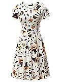 FENSACE Womens Short Sleeves Casual A-Line Halloween Pumpkin Dress, Candy, XX-Large