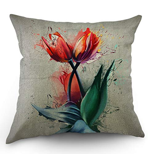 Moslion Tulip Pillow Case Watercolor Flower Blossom Bouquet Floral Garden Leaves Throw Pillow Cover 18x18 Inch Cotton Linen Decorative Square Cushion Cover Happy New Year Sofa Bed Pink Green