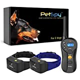 PetSpy P620B Dog Training Shock Collar for 2 Dogs with Vibration, Electric Shock, Beep; Fully Waterproof Remote Trainer with Two E-Collars, 10-120 lbs