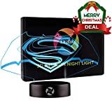 3D Optical Illusion Night Light - 7 LED Color Changing Lamp - Cool Soft Light Safe For Kids - Solution For Nightmares - DC Comics Justice League Batman and Superman