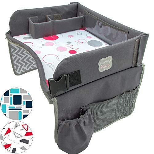 Kids Travel Play Tray by KENLEY KIDS | Car Seat Activity Tray | Waterproof, Food & Snack Tray with Tablet/iPad/Cup Holder | Back Seat Organizer | Padded & Portable (Pink/Gray)