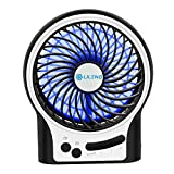 BENGOO USB Desk Fan Electric Mini Table Fan with Light Mode Powered by Rechargeable Battery for Office Travelling Household and Personal Use (Remove the Plastic film in the Battery Case before Use)