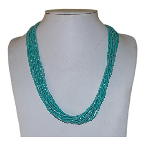 Textured Turquoise Multi-Strand Seed Beads Necklace with Silver Plated Findings, Nepal,N25