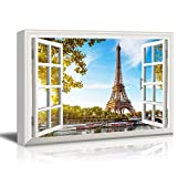 "Canvas Print Wall Art - Window Frame Style Wall Decor - Eiffel Tower and Beautiful Lake Under Clear Blue Sky | Giclee Print Gallery Wrap Modern Home Decor. Stretched & Ready to Hang - 24"" x 36"""