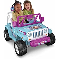 Fisher-Price Power Wheels Disney Frozen Jeep Wrangler 130 lbs. CLD96 12-Volt Battery-Powered Ride-On, Pink/Blue Color, Drives on hard surfaces and grass