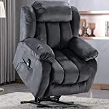 ANJ Power Massage Lift Recliner Chair with Heat & Vibration for Elderly, Heavy Duty and Safety Motion Reclining Mechanism - Antiskid Fabric Sofa Contempoary Overstuffed Design-L0516, Grey