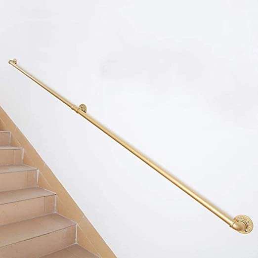 Amazon Com 1Ft 20Ft Gold Handrail Professional Industrial Retro | Wall Mounted Stair Railing | Exterior | Natural Wood | Interior | Wall Mount Window | Oak