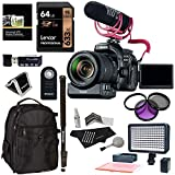 Canon EOS 80D Video Creator Kit with EF-S 18-135mm is USM Lens, Rode Microphone, Power Zoom Adapter, Lexar 64GB, LED Light Kit and Accessory Bundle