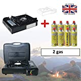 Raxter Portable Camping Gas Cooker Single Burner Stove Automatic Ignition System Enamel Pan Holder Butane BBQ Carry Bag Caravan Outdoor