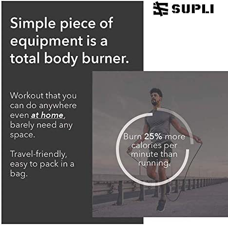 """SUPLI [2020 Upgraded] Jump Rope Tangle-Free with Ball Bearings Rapid Speed Jump Rope Cable and 6"""" Memory Foam Handles Ideal for Aerobic Exercise Speed Training Endurance Training Fitness Gym 7"""