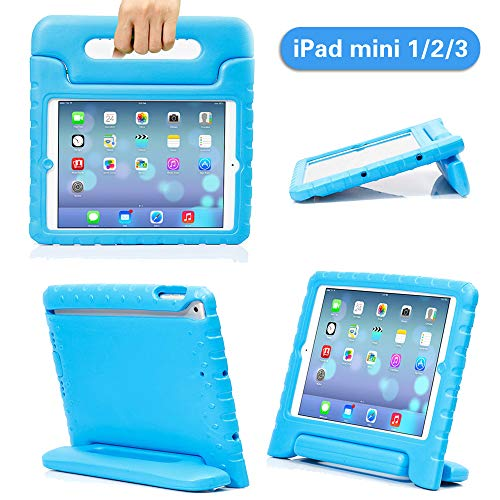 iPad Mini Case iPad Mini 2 case iPad Mini 3 Case with Adjustable Handle Stand Antibacterial Shockproof Anti-Fall EVA Rugged Kids Cover Case for Apple iPad Mini 1/2/3 (Blue)