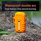 Waterproof Lighter by Novelty Wares-Dual Arc Double Arc Plasma USB Lighter Rechargeable Flameless Stormproof Windproof Mini Electric Lighter for Cigar Candle Cigarette Pipe Sport Outdoor (Orange)