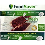 FoodSaver B005SIQKR6 Special Value Vacuum Seal Combo Pack 1-8' 4-11' Rolls 36 Pre-Cut Bags, 1Pack), Clear
