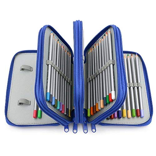 TraveT Handy Wareable Oxford Pencil Bag 72 Slots Pencil Organizer Portable Watercolor Pencil Wrap Case for Art Drawing