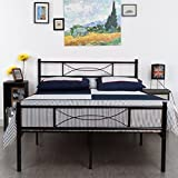 SimLife Steel Double Platform Box Spring Needed Black Metal Bed Frame Full Size 10 Legs Two Headboards Mattress Foundation