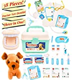 Pretend Medical Kit - Doctor Kit for Kids with Lab Coat - Dentist Kit and Veterinarian Kit for Kids with Teeth Set and Dog patients - Doctor, Nurse, Dentist or Veterinarian