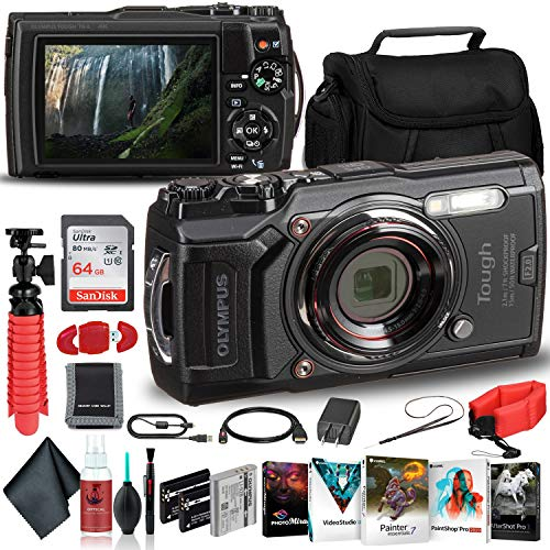 Olympus-Tough-TG-6-Waterproof-Camera-Black-Adventure-Bundle-with-2-Extra-Batteries-Float-Strap-Sandisk-64GB-Ultra-Memory-Card-Padded-Case-Flex-Tripod-Photo-Software-Suite-More