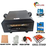 Hot life Small Stylish Looking1500W'10 inches'Electric tandoor (Black) with Pizza Cutter Magic Cloth Aluminum Tray Shock Proof Rubber Legs Recipe Book Grill Stand skewers