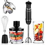 OXA Smart 800W 12-Speed Immersion Hand Blender Set Includes BPA-Free Food Chopper / Egg Beater / Beaker, Titanium Coating Blade, Slip-proof Ergonomic Grip Detachable, Comfortable Silicone Button,Black