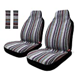 Copap 4pc Universal Stripe Colorful Baja Front Seat Cover Baja Bucket Seat Cover Blue Saddle Blanket with Seat-Belt Pad Protectors for Car, SUV & Truck