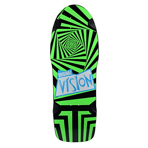 Vision Original Vision Reissue Skateboard Deck, Black/Green, 10 x 30-Inch