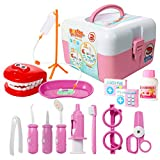 ThinkMax Play Doctor Kit for Kids, 15 Pieces Pretend Play Dentist Medical Set Toys Toddlers Thanksgiving & Christmas & Birthday Gift,Games Prizes, Doctor Roleplay (Pink)