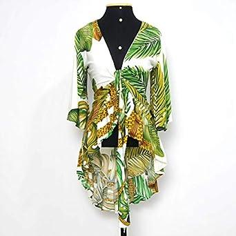 Blusa floral cropped mullet Tamanho:M; Cor:Verde