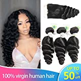 Peruvian Loose Wave 3 Bundles with Lace Closure 4x4 Free Part 8A Virgin Human Hair Extensions Natural Color (14 16 18+12C)