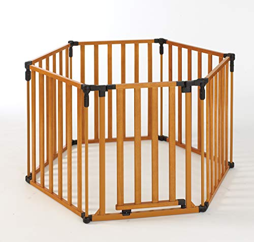 "Toddleroo by North States 3-in-1 Wood Superyard: 151"" Long Extra-Wide gate, Barrier or Play Yard. Hardware or freestanding. 6 Panels, 10 sq.ft. Enclosure (30"" Tall, Stained Wood)"