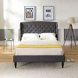 Classic Brands Brighton Upholstered Platform Bed   Headboard and Metal Frame with Wood Slat Support, Queen, Grey