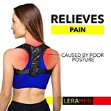 LERAMED [New 2019] Posture Corrector for Women and Men | Neck Pain Relief | Adjustable Upper Back Brace for Clavicle Support