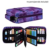 Pencil Case Holder Slot - Holds 202 Colored Pencils or 136 Gel Pens with Zipper Closure - Large Capacity Pen Organizer for Watercolor Pens & Markers | Perfect Gift for Beginner & Artist Purple