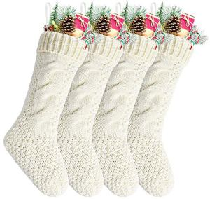 Kunyida-Pack-418-Unique-Ivory-White-Knit-Christmas-Stockings