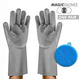 Magic Silicone Scrubbing Gloves with Silicone Sponge -1 Pair Reusable Magic Silicone Gloves to Wash Dishes, Kitchen, Bathroom, Car Washing. 1 Pair of Silicone Scrub Gloves 13.5' + Sponge (Gray)