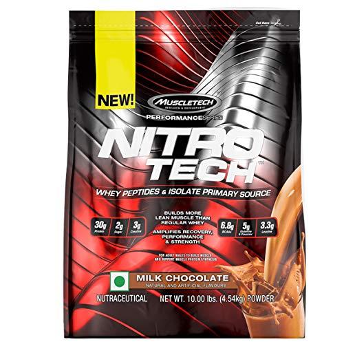 Muscletech Performance Series Nitrotech Whey Protein Peptides & Isolate (30g Protein, 3g Creatine, 6.8 BCAAs, 5g Glutamine & Precursor, 3.3g Leucine, Post-Workout) – 10lbs (4.54kg) (Milk Chocolate)