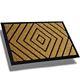 Extra Durable Front Door Mat Diamond Brown - Rug Entry Door Mat - Non-Slip Waterproof Thin Doormat Outdoor Doormat Indoor (30 x 18) - Inside Doormat and Back Door Mat - Easy Clean Door Rug Entry Mat