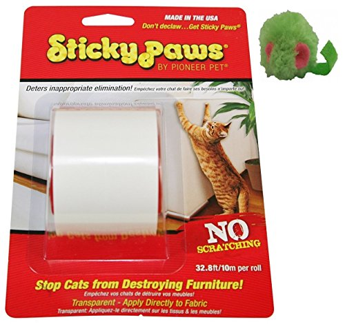 Sticky Paws Scratch Control Cat Training Aid ~ Scratch Deterrent ~ Includes Micro Mouse Catnip Toy! 1