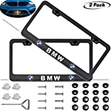 2-Pieces Newest Matte Aluminum Alloy License Plate Frame for BMW,Applicable to US Standard car License Frame,FBA Fast Delivery(Native BMW)...