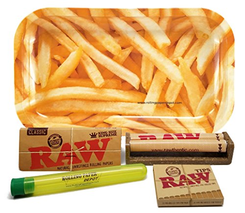 Bundle - 5 Items - RAW King Size Supreme, 110 Roller and Pre-rolled Tips with Rolling Paper Depot Rolling Tray...