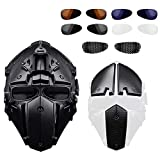 ActionUnion Fast Tactical Helmet Full Face Head Mask and Goggles Protective with Visor Goggles for Airsoft Military Hunting Paintball CS Necessary Riding Motorcycle Cosplay Movie Prop (Black)